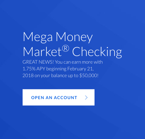 All America Bank® Mega Money Market® set to become rate leader with 1.75% APY on up to $50K on February 21, 2018